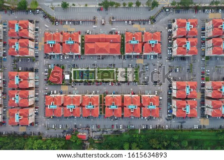 Top down view housing apartments from aerial shot