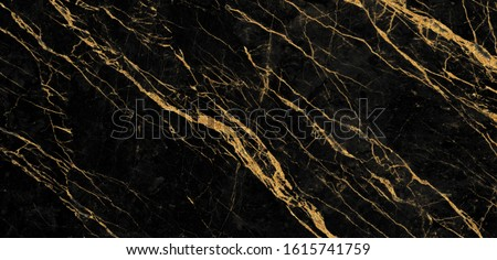 black marble with golden veins. Black golden natural texture of marble. abstract black, white, gold and yellow marbel. hi gloss texture of marble stone for digital wall tiles design.  #1615741759