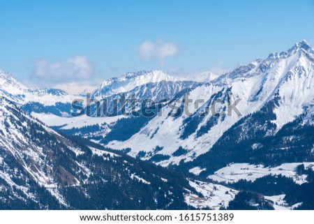 View from la Berneuse above Leysin Switzerland. Elevation 2000m overlooking Swiss Alps. #1615751389