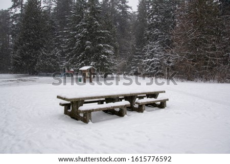 A picture of the snow-covered picnic table on the ground.   Burnaby BC Canada