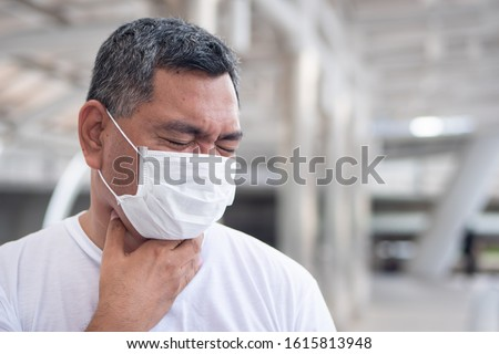 allergic sick old man having sore throat inflammation; concept of man with allergy, phlegm, sore throat or throat inflammation, influenza, flu, cold, sickness, air pollution health care concept #1615813948