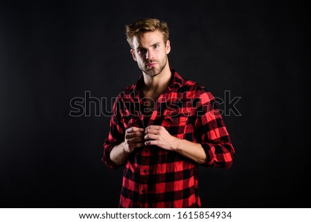 Hipster black background. Meaning of modern manliness. Handsome well groomed man. Exhibit masculine traits. Standards of manliness or masculinity. Manliness concept. Barbershop and beauty salon. #1615854934