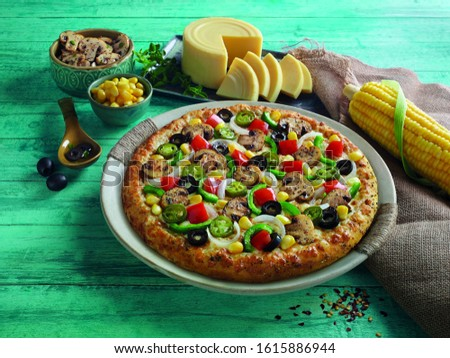 Tasty Gourmet pizza with beautiful back ground #1615886944