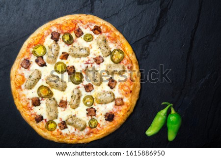 Tasty Gourmet pizza with beautiful back ground #1615886950