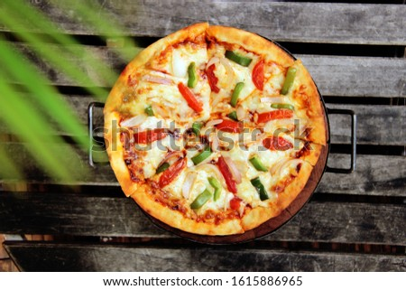 Tasty Gourmet pizza with beautiful back ground #1615886965