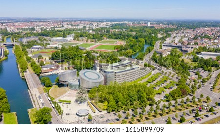 Strasbourg, France. The complex of buildings is the European Parliament, the European Court of Human Rights, Aerial View   #1615899709