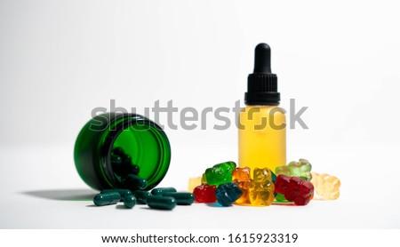 Hemp CBD Gummies, Hemp CBD Oil & CBD Hemp Capsule. Great for overlaying labels or logos! #1615923319