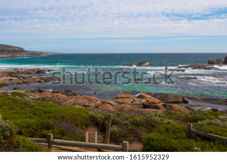 After a day of surfing heavy reef breaks, Redgate offers a nice easy beach break set among beautiful coastal dunes and ancient granite boulders not far from Margaret River, Western Australia. #1615952329