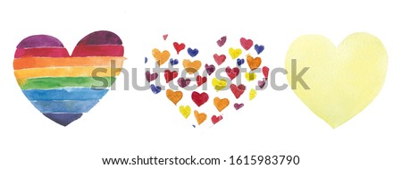 Set of Cute Watercolor Hearts Clip Art with Various Painted Patterns. Perfect for