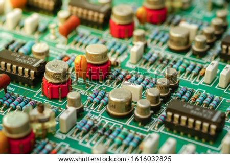 Closeup on Electronic device and electronic board, background #1616032825