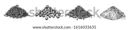 Piles of spices. Black pepper peas, sesame seeds, poppy seeds, caraway seeds. Spices set #1616033635
