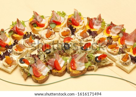 Canapes and one bite appetizers at tray #1616171494