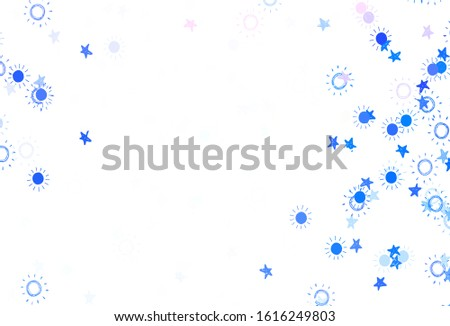 Light Blue, Red vector pattern with simple suns, stars. Glitter abstract illustration with colored stars, suns. Pattern for futuristic ad, booklets. #1616249803
