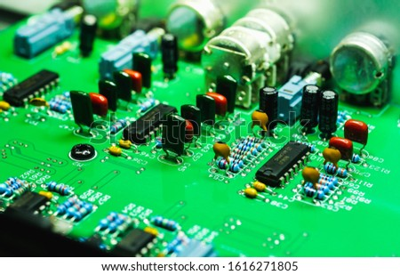 Closeup on Electronic device and electronic board, background #1616271805