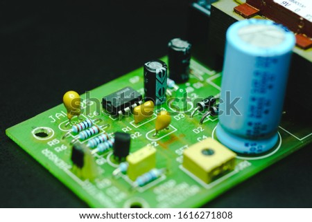Closeup on Electronic device and electronic board, background #1616271808