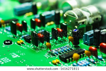 Closeup on Electronic device and electronic board, background #1616271811