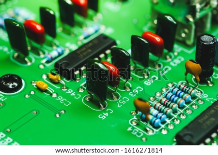 Closeup on Electronic device and electronic board, background #1616271814