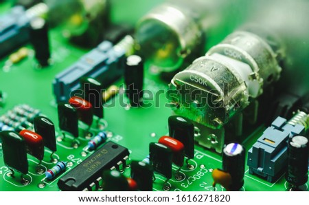 Closeup on Electronic device and electronic board, background #1616271820