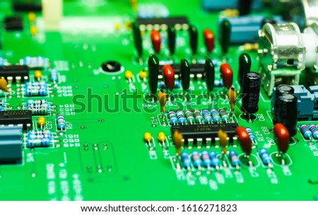 Closeup on Electronic device and electronic board, background #1616271823