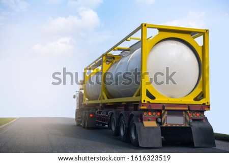 Gas Truck on highway road with tank oil  container, transportation concept.,import,export logistic industrial Transporting Land transport on the asphalt expressway with blue sky #1616323519
