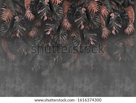 gray wallpaper with golden rose leaves
