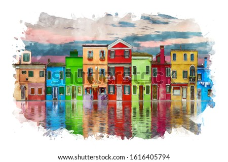 Colorful houses by the lake watercolor illustration #1616405794
