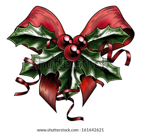A vintage Christmas holly sprig and berries red bow with ribbon in a woodblock, woodcut, etching or lithograph print style