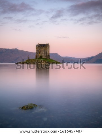 Very nice soft light at sunrise at Castle Stalker in the Scottish Highlands. Castle Stalker is a very famous castle in Scotland, and at high tide it is completely surrounded by water. #1616457487