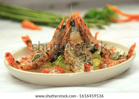 White platting and dressing colorful delicious dish concept