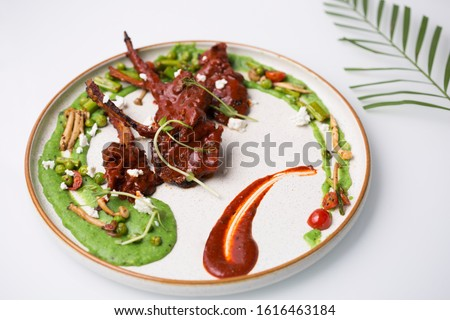 White plate minimalist dressing colorful dish concept