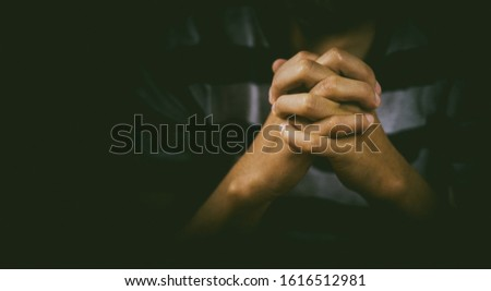 Man are praying and thanks to the Lord.Prayer.devotion concept, #1616512981