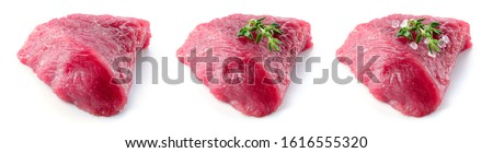 Raw meat. Meat piece. Meat. Raw fresh beef meat piece. Beef isolated. Meet slice. Full depth of field. #1616555320
