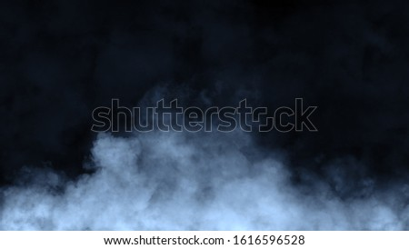 Paranormal blue mystic smoke on the floor. Fog isolated on black background. Stock illustration. #1616596528