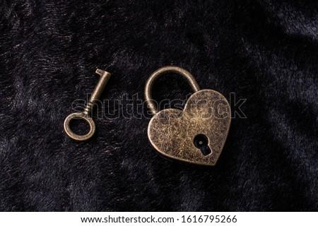 Metal padlock in heart shape as  symbol of love #1616795266