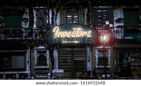 Street Sign the Direction Way to Investors #1616932648