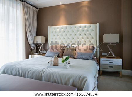 comfortable bedroom with nice decoration #161694974
