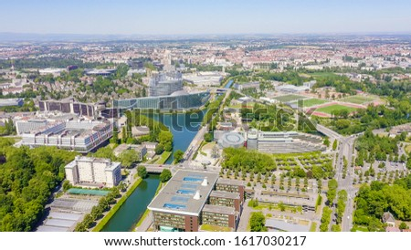 Strasbourg, France. The complex of buildings is the European Parliament, the European Court of Human Rights, the Palace of Europe, Aerial View   #1617030217