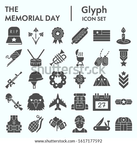 Memorial day glyph icon set, holiday symbolism symbols collection, vector sketches, logo illustrations, patriotic army signs solid pictograms package isolated on white background, eps 10 #1617177592