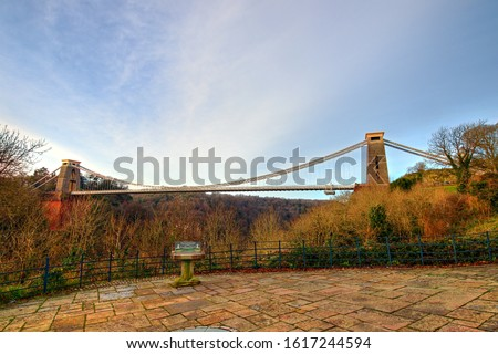 View in a winter sunset of the Clifton Suspension Bridge, a suspension bridge spanning the Avon Gorge and the River Avon in the city of Bristol, UK #1617244594