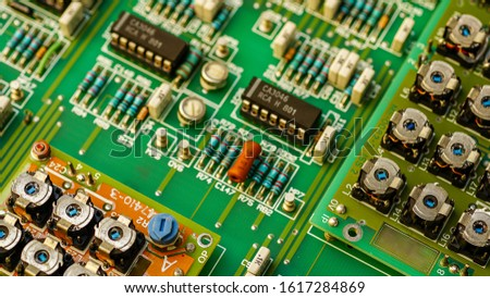 Closeup on Electronic device and electronic board, background #1617284869