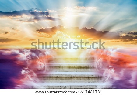 Religion background . Heavens gate . Stairway to the sky . Way to success Royalty-Free Stock Photo #1617461731