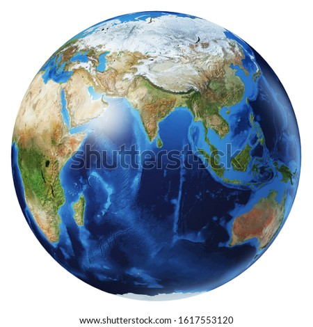 Earth globe 3d illustration. Asia view. Very detailed and photo realistic. On white background. Clipping path included. (Original maps provided by NASA.)