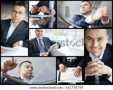 Collage of mature businessman at work #161758769