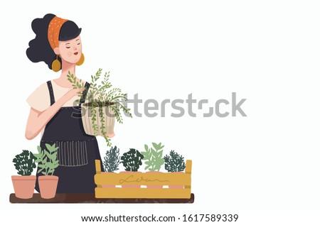 Woman planting gardens flowers, agriculture gardener hobby and garden job. Gardening person, gardener flowers. Flat vector illustration. #1617589339