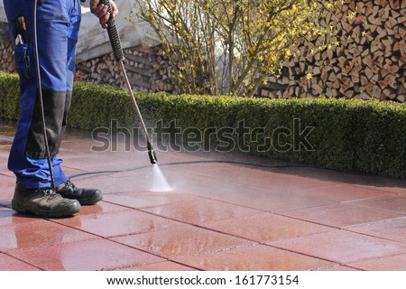 High-pressure cleaner, terrace Royalty-Free Stock Photo #161773154