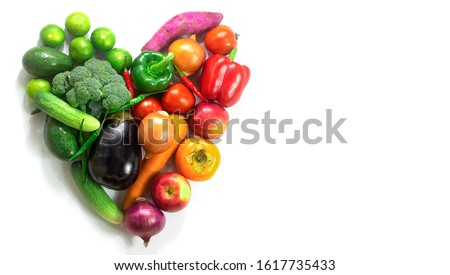 Heart of fruits and vegetables,Fresh vegetables and fruits,Colorful fruits and vegetables,clean eating,vegetables and fruits background,top view,Food concept. #1617735433
