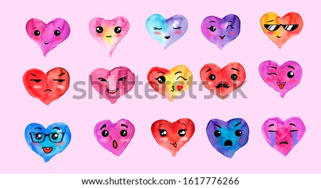 Watercolor Hearts Clip Art. Set of Emotional Cuties for Valentine's Day. Collection of Face Emotions. Hand Painted Sweet Style Colorful Elements Isolated.