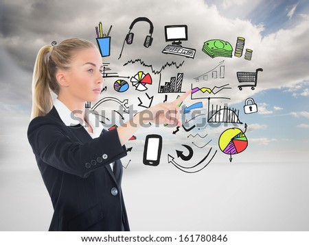 Composite image of blonde businesswoman pointing somewhere #161780846
