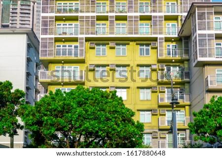 Residential Apartment Building Exteriors Windows Morning Scene #1617880648