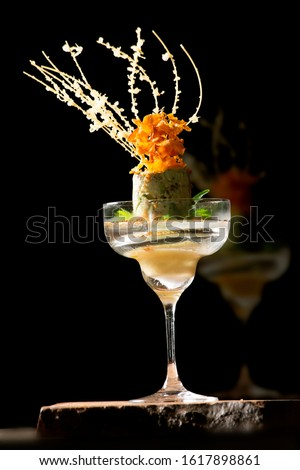 Beautiful beverage setting concept with minimalist with amber light #1617898861